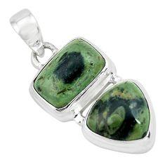 9.73cts natural green kambaba jasper (stromatolites) 925 silver pendant p67449