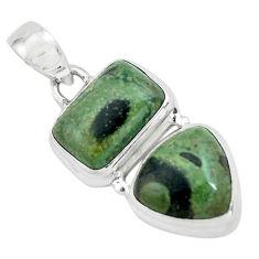 9.40cts natural green kambaba jasper (stromatolites) 925 silver pendant p67450