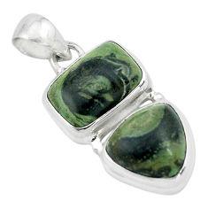 9.72cts natural green kambaba jasper (stromatolites) 925 silver pendant p67457