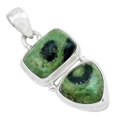 9.73cts natural green kambaba jasper (stromatolites) 925 silver pendant p67458