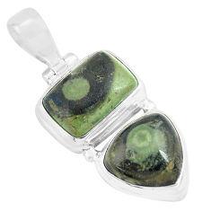 12.07cts natural green kambaba jasper (stromatolites) 925 silver pendant p70486