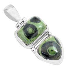 14.12cts natural green kambaba jasper (stromatolites) 925 silver pendant p70488