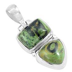 14.41cts natural green kambaba jasper (stromatolites) 925 silver pendant p70489
