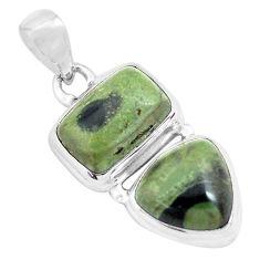 13.26cts natural green kambaba jasper (stromatolites) 925 silver pendant p70492