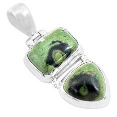 14.00cts natural green kambaba jasper (stromatolites) 925 silver pendant p70493