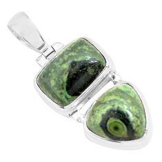 13.69cts natural green kambaba jasper (stromatolites) 925 silver pendant p70496