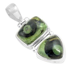 13.51cts natural green kambaba jasper (stromatolites) 925 silver pendant p70497