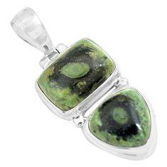 14.12cts natural green kambaba jasper (stromatolites) 925 silver pendant p70499