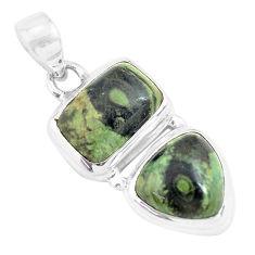 13.18cts natural green kambaba jasper (stromatolites) 925 silver pendant p70500