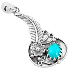 4.21cts natural green kingman turquoise 925 silver flower pendant p41846