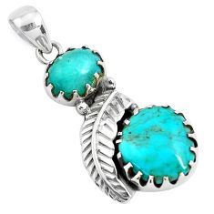9.42cts natural green kingman turquoise 925 silver leaf charm pendant p42015