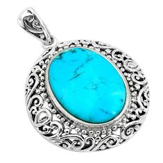 9.16cts natural green kingman turquoise 925 sterling silver pendant c1640