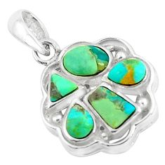 3.91cts natural green kingman turquoise 925 sterling silver pendant c1641