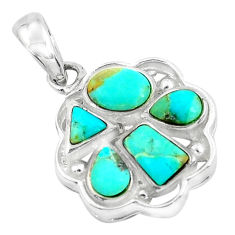 3.83cts natural green kingman turquoise 925 sterling silver pendant c1645