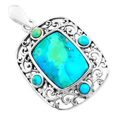 7.82cts natural green kingman turquoise 925 sterling silver pendant c1647