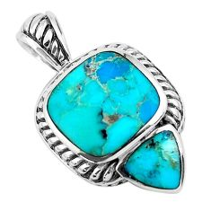 7.12cts natural green kingman turquoise 925 sterling silver pendant c1661