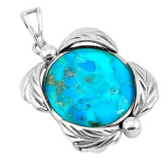 14.43cts natural green kingman turquoise 925 sterling silver pendant c1665