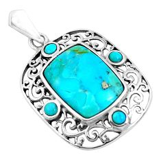 6.39cts natural green kingman turquoise 925 sterling silver pendant c1666
