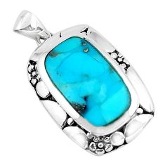 4.93cts natural green kingman turquoise 925 sterling silver pendant c1674