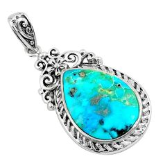8.24cts natural green kingman turquoise 925 sterling silver pendant c1701