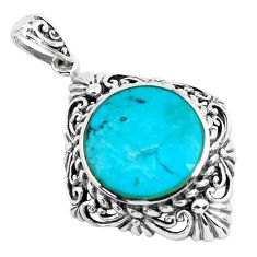 10.60cts natural green kingman turquoise 925 sterling silver pendant c1708