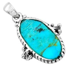 5.51cts natural green kingman turquoise 925 sterling silver pendant c1710