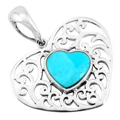 4.47cts natural green kingman turquoise 925 sterling silver pendant c1716