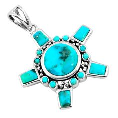 7.38cts natural green kingman turquoise 925 sterling silver pendant c1729