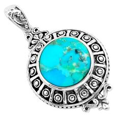 6.32cts natural green kingman turquoise 925 sterling silver pendant c1736