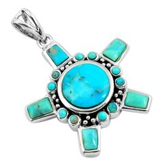 7.62cts natural green kingman turquoise 925 sterling silver pendant c1769