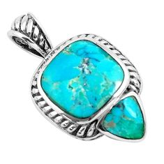 7.40cts natural green kingman turquoise 925 sterling silver pendant c1770