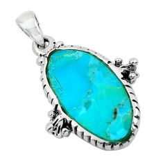 4.04cts natural green kingman turquoise 925 sterling silver pendant c1772