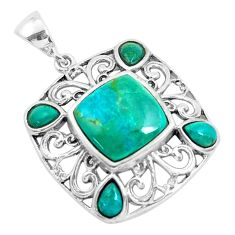 6.33cts natural green kingman turquoise 925 sterling silver pendant c1773