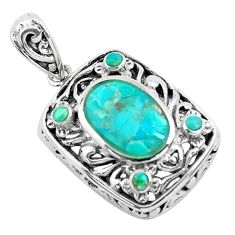 3.83cts natural green kingman turquoise 925 sterling silver pendant c1778