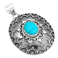 4.35cts natural green kingman turquoise 925 sterling silver pendant p33466