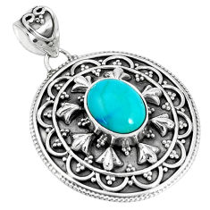 3.82cts natural green kingman turquoise 925 sterling silver pendant p33471