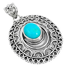 4.21cts natural green kingman turquoise 925 sterling silver pendant p33472
