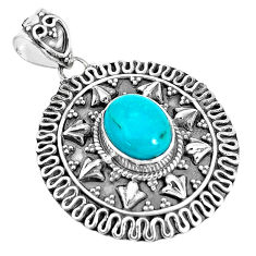 3.91cts natural green kingman turquoise 925 sterling silver pendant p33477