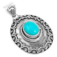 4.33cts natural green kingman turquoise 925 sterling silver pendant p33480
