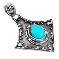 4.02cts natural green kingman turquoise 925 sterling silver pendant p33528