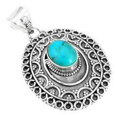 3.91cts natural green kingman turquoise 925 sterling silver pendant p33535