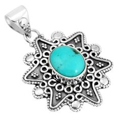 4.33cts natural green kingman turquoise 925 sterling silver pendant p33536