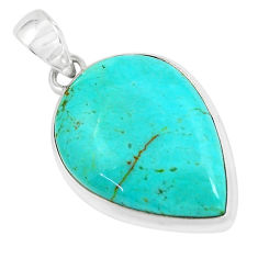 16.88cts natural green kingman turquoise 925 sterling silver pendant p65271