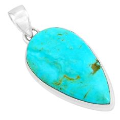 14.72cts natural green kingman turquoise 925 sterling silver pendant p65274