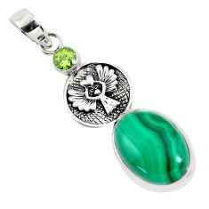 14.83cts natural green malachite (pilot's stone) 925 silver pendant p56828