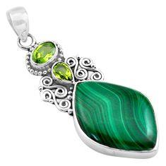 22.23cts natural green malachite (pilot's stone) 925 silver pendant p84727