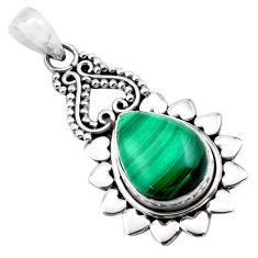 10.88cts natural green malachite (pilot's stone) 925 silver pendant p84752