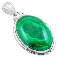 31.53cts natural green malachite (pilot's stone) 925 silver pendant p86001