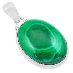 25.28cts natural green malachite (pilot's stone) 925 silver pendant p86004
