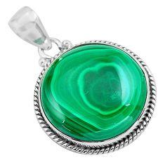 28.73cts natural green malachite (pilot's stone) 925 silver pendant p86010